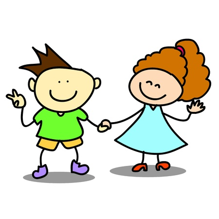 happy kids cartoon hand-drawn illustraton Stock Vector - 16877849