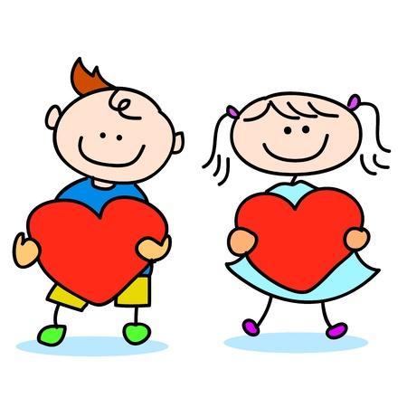 happy kids cartoon hand-drawn illustraton Stock Vector - 16877847