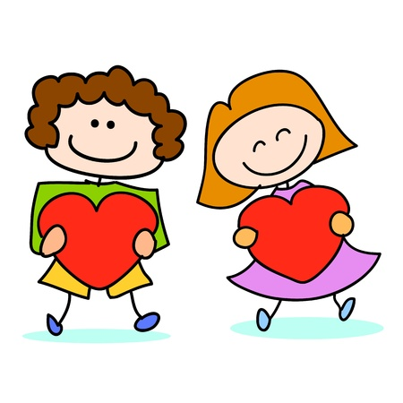 happy kids cartoon hand-drawn illustraton Stock Vector - 16877848