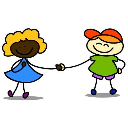 illustraton: happy kids cartoon hand-drawn illustraton