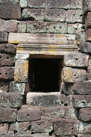 rung: laterite wall texture at Phanom Rung temple in Buriram Thailand Stock Photo