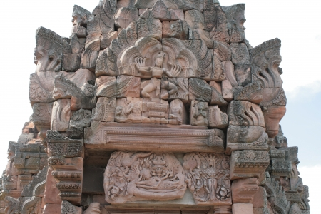 Shiva Nataraja or Hindu god in dancing posture and The Reclining Vishnu stone carving at the main sanctuary of Phanom Rung,  Khmer temple complex, in Buriram Thailand photo