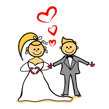 bride and gloom marriage, just married, hand-drawn cartoon character Vector