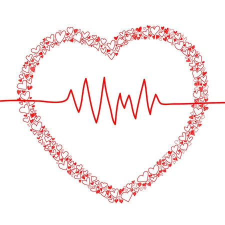 sketch of hearts and heart beat design for valentine Stock Vector - 17451109