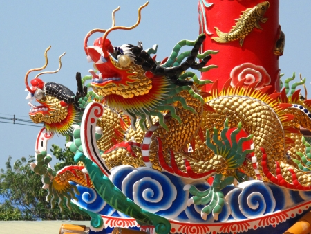 chinese-thai dragon statue at top of the colume in chinese shrine Thailand Stock Photo - 17694029