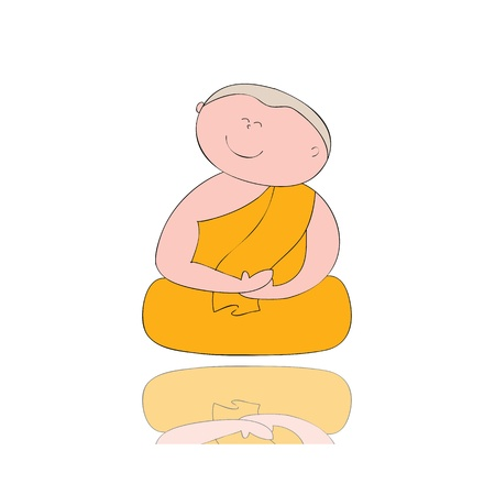 liberate: hand-drawn cartoon character happy buddhist monk for religion