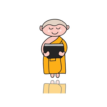 hand-drawn cartoon character happy buddhist monk for religion Stock Vector - 17694035