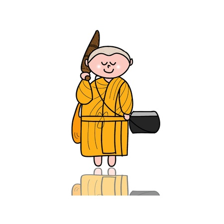 hand-drawn cartoon character happy buddhist monk for religion Stock Vector - 17694038