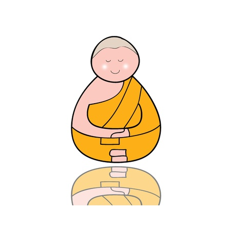hand-drawn cartoon character happy buddhist monk for religion Stock Vector - 17694034