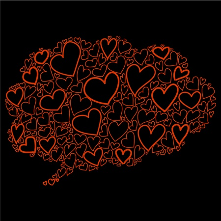 hand-drawn bubble cloud heart shaped thought design for valentine Vector