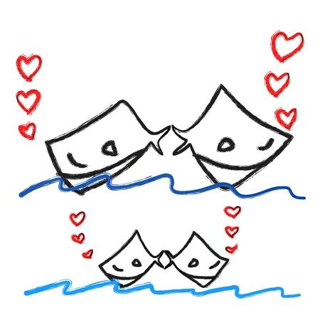 hand-drawn cartoon couple fish in love illustration Stock Vector - 17875813