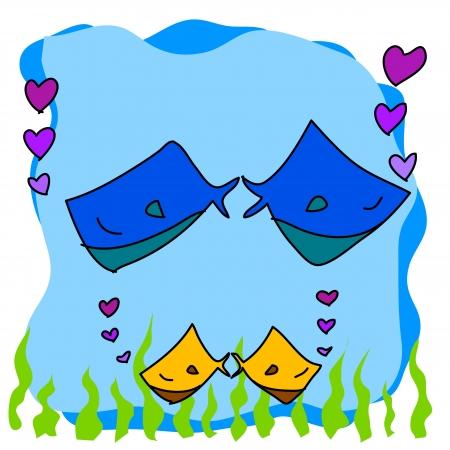 hand-drawn cartoon couple fish in love illustration Stock Vector - 17875778