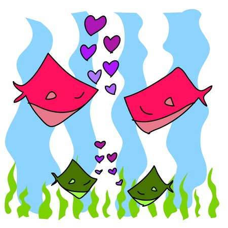 hand-drawn cartoon couple fish in love illustration Vector