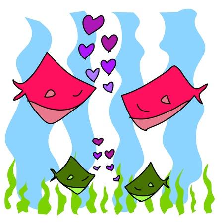 hand-drawn cartoon couple fish in love illustration Stock Vector - 17875779
