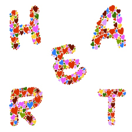 hand-drawn heart-shaped alphabet design element for valentine Vector