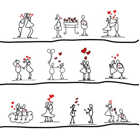 anniversario matrimonio: cartoni animati disegnati a mano dei caratteri amore