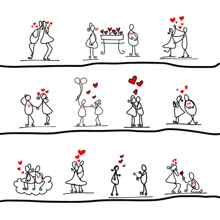 sweet couple: cartoon hand-drawn love character