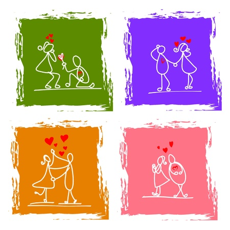 hand-drawn character love couple illustration Vector