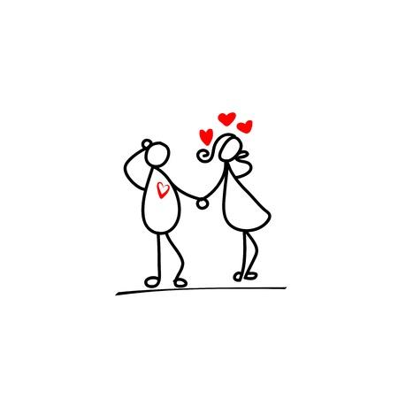 dinner date: cartoon hand-drawn love character