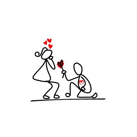 dessinés à la main personnage de dessin animé d'amour Vecteurs