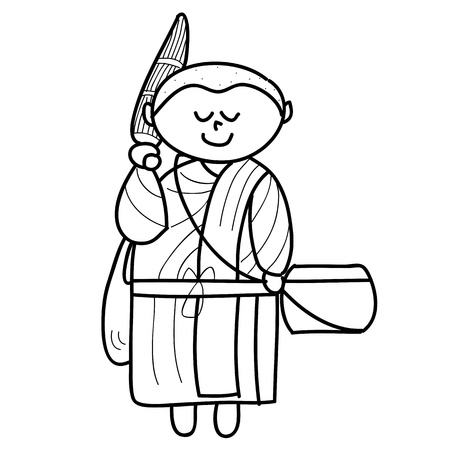 cartoon hand drawing buddhist monks ritual Vector