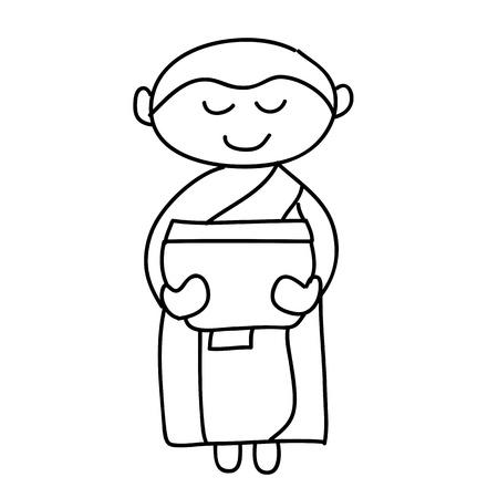 cartoon hand drawing buddhist monks ritual Stock Vector - 17875891