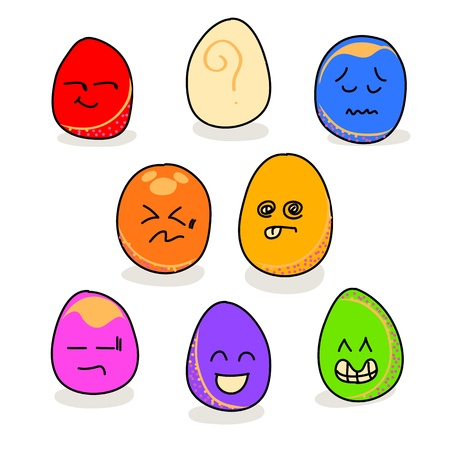 cartoon hand drawing eggs emotion icon Stock Vector - 17875925