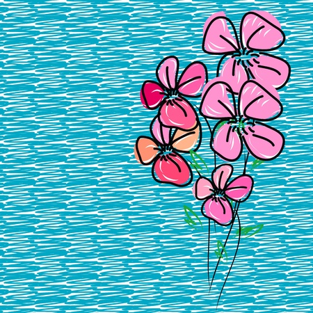 hand drawing pink flower blossom Vector