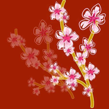 spring cherry blossoms vector hand drawing pattern photo