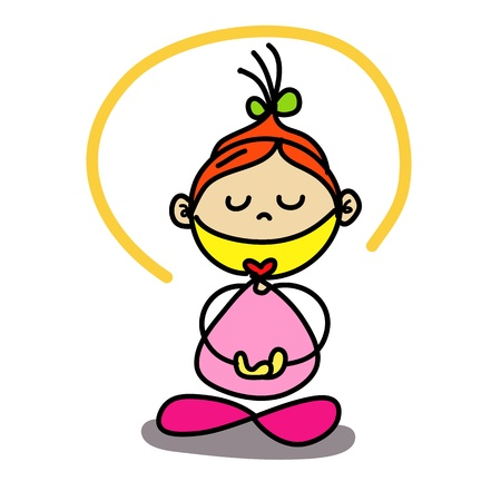 exhale: hand writing cartoon character girls meditation Illustration