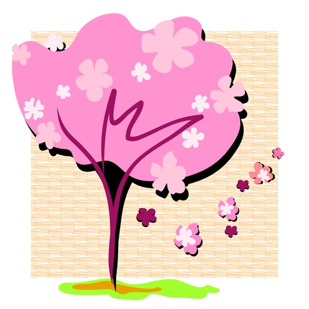 spring cherry blossoms hand drawing pattern Vector