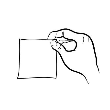 groin: hand drawing freehand sketch hand holding sticker note vector for design