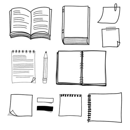 hand drawing stationary design set format Vector
