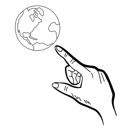 groin: hand drawing freehand sketch hand pointing globe for design