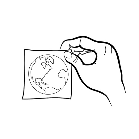 hand drawing freehand sketch hand holding paper sticker with planet for design Stock Vector - 18817230