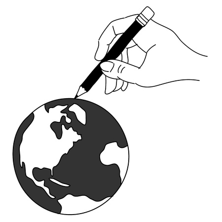 hand drawing freehand sketch global for design Vector