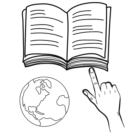 groin: hand drawing freehand sketch hand pointing book and globe vector for design