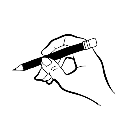 groin: hand drawing freehand sketch hand holding pencil for design Illustration