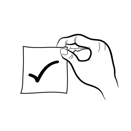 correct mark: hand drawing freehand sketch hand holding correct mark on paper sticker note for design
