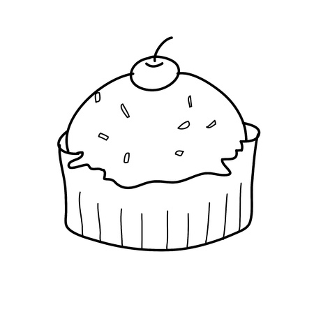 cup cake sketch in black and white style free hand drawing Vector