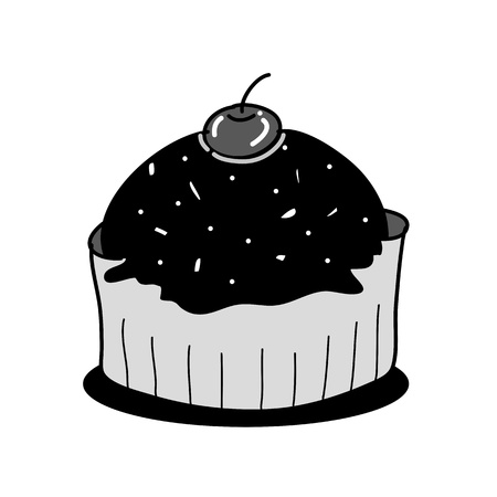cup cake sketch in black and white style free hand drawing Stock Vector - 18867866