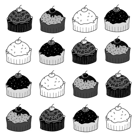 set of cup cakes sketch in black and white style free hand drawing Vector