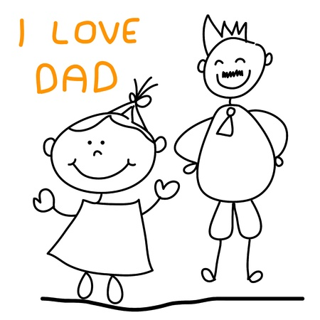 happy kid with dad hand drawing cartoon character for father day Stock Vector - 18923073