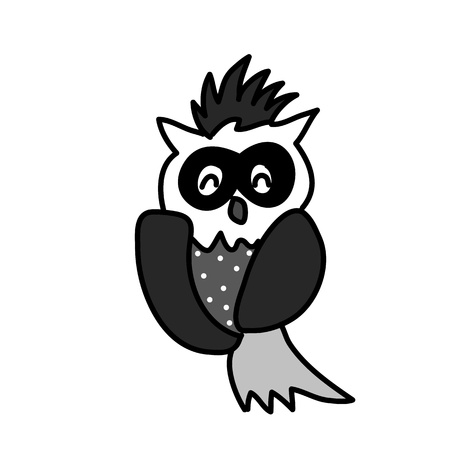 hand drawing cartoon owl abstract character Vector