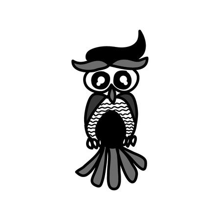 hand drawing cartoon owl abstract character Vector