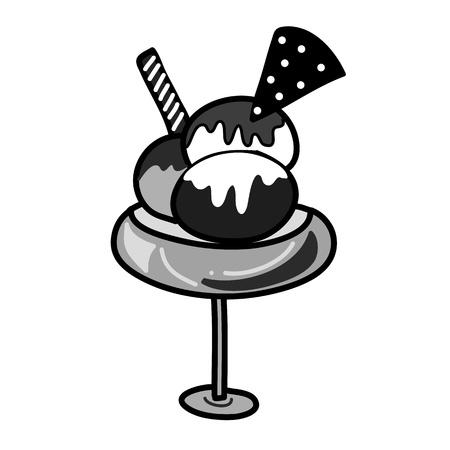 Handzeichnung Eis in Schwarz-Weiß-Stil