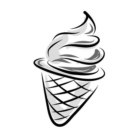 黒と白のスタイルでアイスクリームを描く手します。