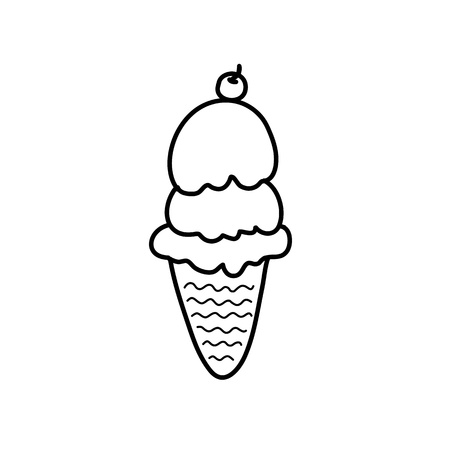 black and white cone: hand drawing ice cream in black and white style