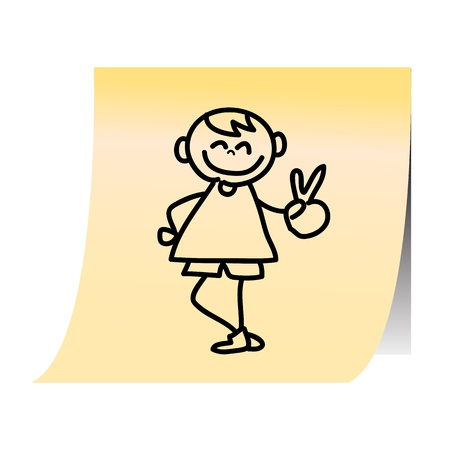 hand drawing cartoon on paper note stickers  Vector