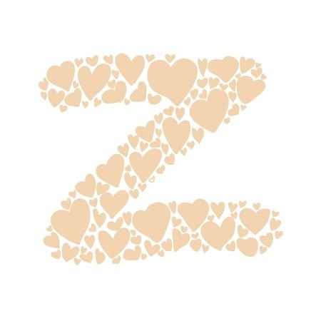 hand-drawn heart-shaped colorful alphabet design element Illustration
